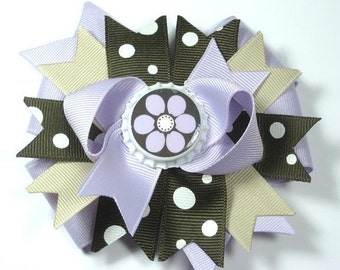 M2MG Desert Flower  Bottle Cap Boutique Hair Bow Clip