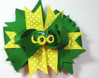 Boutique Green Yellow Tractor Hair Bow
