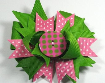 Boutique Apple Green and Hot Pink  Button Hair Bow Clip