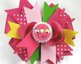 Boutique M2MG Pretty Lady Ladybug Bottle Cap Hair Bow Clip