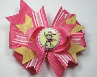 Boutique Monkey Girl Power Bottle Cap Hair Bow Clip