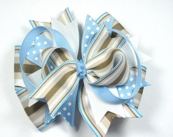 Seaside Blue white and Tan Boutique Hair Bow Clip