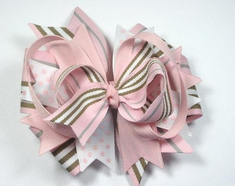 Madison Blvd Pink and white Striped Boutique Hair Bow Clip
