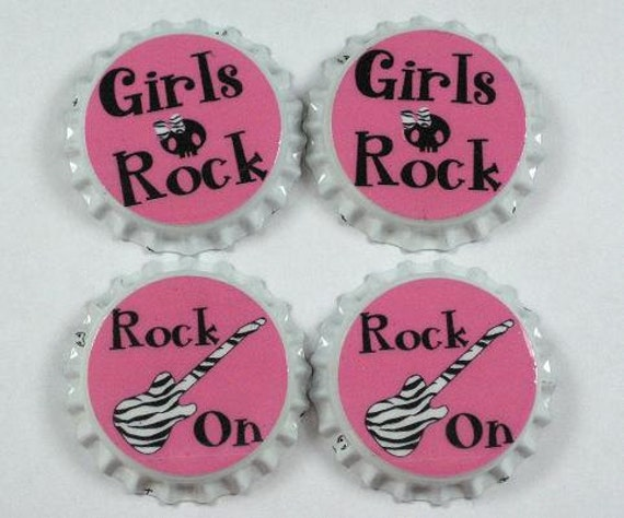 Set 4 Pink Black Skull Rock On Zebra Print sealed bottle caps