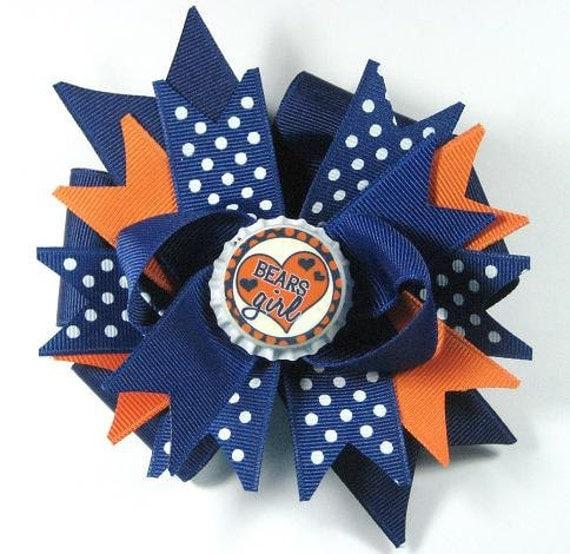 Boutique Bottle Cap Hair Bow Clip -Chicago Bears Inspired-Navy Orange Football Bears Girl