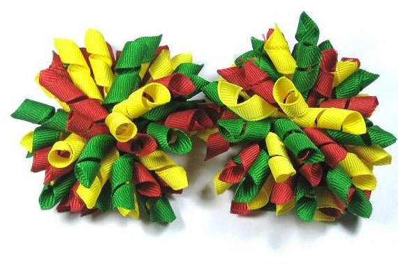 Boutique Set of 2 Green Red Yellow Korker Hair Bows Hair Clip