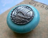 Turquoise Gemstone and Pewter Viking Brooch