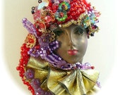 Lady Face Pendant - Ethnic Face Jewelry -Hand Beaded Red Hat Society Jewelry