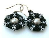Peyote Earrings ~ Black and Grey Earrings  ~ Snowflake Earrings ~ Dangle Earrings  E2010-47