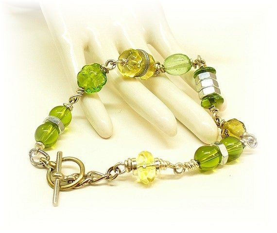 Green Nuts and Bolts Hardware Bracelet B2007-A