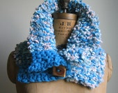 Holiday SALE!! Chunky knit cowl Turquoise. Peach. Wooden Button. Ready to ship.