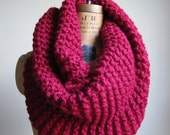 Super Snuggly Chunky knit cowl Cranberry Red infinity scarf. Handmade knitwear. Scarlet circle scarf.
