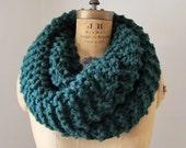 Super Snuggly Chunky knit cowl Forrest Green. Jade. Emerald. Handmade knitwear. Loop scarf. Circle scarf.