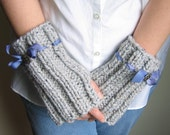 Grey hand knit fingerless gloves. Gray armwarmers. Handmade knitwear. Handcrafted knit fashion. Warm gloves.