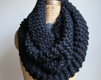 Super Snuggly chunky knit Black cowl. Infinity scarf.