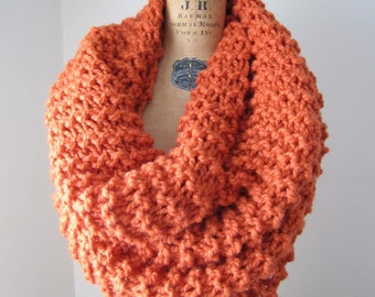Super Snuggly chunky knit cowl Orange.