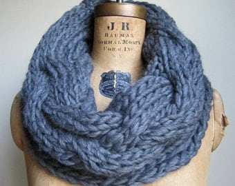 Oversized Cable knit cowl Charcoal Grey. Infinity scarf
