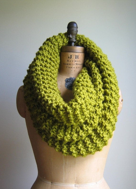 Super Snuggly chunky knit cowl Chartreuse. Infinity scarf.