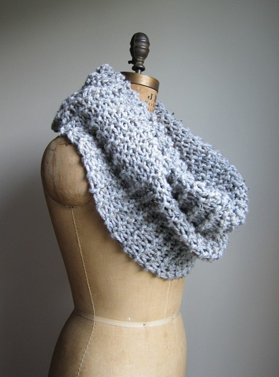Super Snuggly chunky knit cowl Grey. Gray. Infinity scarf. Handmade knitwear. Extra large cowl. Textured cowl.