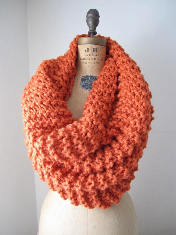 Super Snuggly chunky knit cowl Orange.