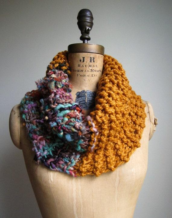 RESERVED Bohemian knit cowl Amber. Teal. Orange. Purple.