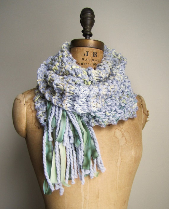 RESERVED. Hand knit  long scarf  Silver. Green. Yellow.