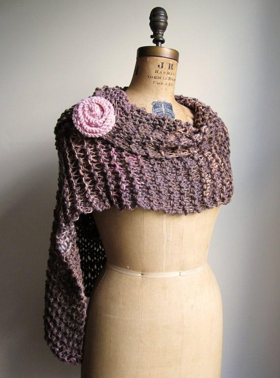 RESERVED Organic Cotton knit shawl  Mocha Brown. Pink.
