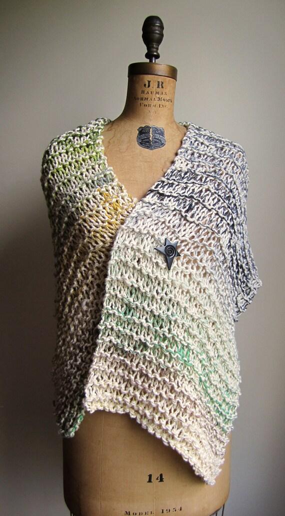Organic Cotton knit shawl  Cream. Green. Black. Yellow.