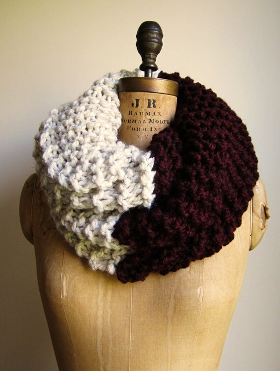 Super Snuggly Chunky knit cowl Oxblood. Cream. Infinity scarf.