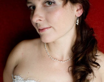 Delicate bridal necklace - clusters of pearls and crystals