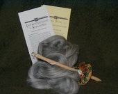 Hand painted drop spindle learn to spin kit with instructions and multi gray wool