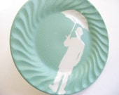 umbrella man on painted, recycled plate - mint green \/ jade