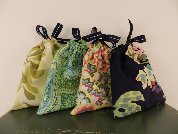 Custom Order for Cara Do me a favor - Secret Satchels Set of 4 and 1 Mineral Makeup Roll Custom Fabric Choices