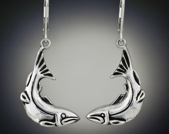 Sterling Silver Curved Salmon Earrings, Recycled sterling silver, Repurposed silver