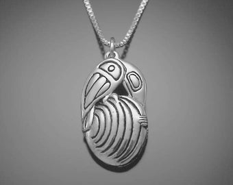 Raven, Clam and First People Necklace, sterling silver, reclaimed eco-friendly silver pendant
