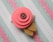 Itsy Bitsy Felt Posy- Tiny Baby Snap Clip -Coral Pink