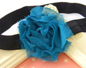 CLEARANCE- Amy- Teal Shabby Organza Flower On A Soft Shimmery Black Headband- Perfect for Blessings and portraits- All Sizes Available