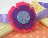 CLEARANCE- Kara- Felt Flowers On A Soft Shimmery Purple Headband