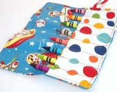 Crayon Roll - RETRO ROCKET Crayon Roll Up - Stocking Stuffer - Party Favor - Kids