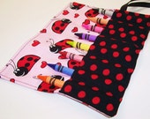 Kids Stocking Stuffer - LOVELY LADYBUGS Crayon Roll Up - Ready To Ship