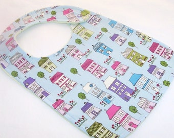 Baby Bib - PRETTY LITTLE HOUSES Minky Bib