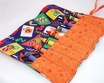 Crayon Roll - CONSTRUCTION ZONE Crayon Roll Up - Kids - Stocking Stuffer