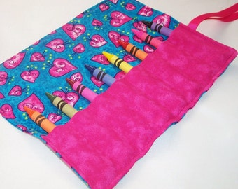 Crayon Roll - WHIMSICAL HEARTS Crayon Roll Up