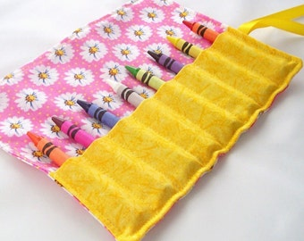 Crayon Roll - HAPPY LITTLE DAISIES Crayon Roll Up - Kids - Stocking Stuffer