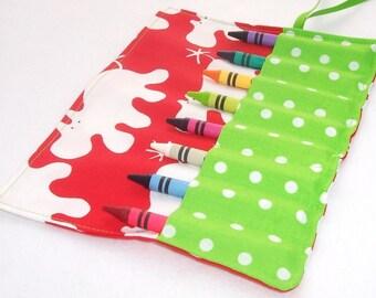 Crayon Roll - HIPPOPOTAMUS Crayon Roll Up - Stocking Stuffer