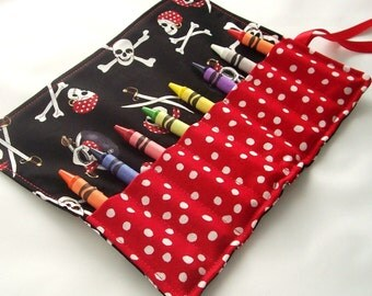Crayon Roll - JOLLY ROGER PIRATE Crayon Roll Up - Kids - Stocking Stuffer - Party Favor
