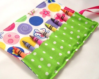 LOLLIPOP DOTS Crayon Roll Up - Stocking Stuffers - Kids
