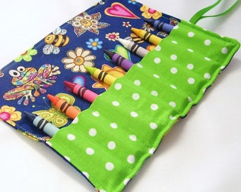 Crayon Roll - DOODLES Crayon Roll Up - Kids - Stocking Stuffer