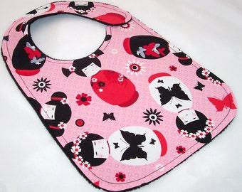 Baby Girl Bib - SWEET KOKESHI Minky Baby Bib