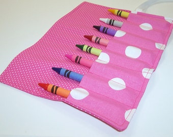 Ready To Ship - PRETTY IN PINK Crayon Roll Up - Kids - Stocking Stuffer